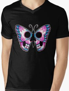 Sugar Skull Butterfly Tattoo Flash Mens V-Neck T-Shirt