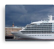 Seabourn Sojourn Berthed Beneath Stormy Skies Canvas Print