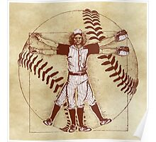 Vitruvian Baseball Player (Natural Tones) Poster