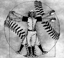 Vitruvian Baseball Player (B&W Tones) by KAMonkey