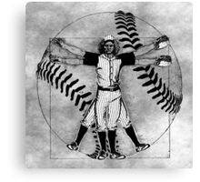 Vitruvian Baseball Player (B&W Tones) Canvas Print