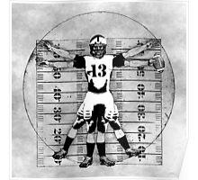 Vitruvian Football Player (B&W Tones) Poster
