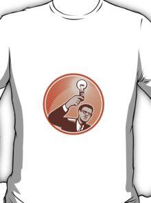 Businessman Holding Lightbulb Woodcut T-Shirt