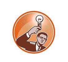 Businessman Holding Lightbulb Woodcut by patrimonio