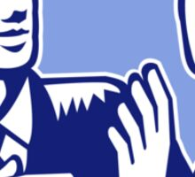 Office Worker Businessman Discussion Woodcut Sticker