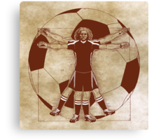 Vitruvian Soccer Player (Natural Tones) Canvas Print