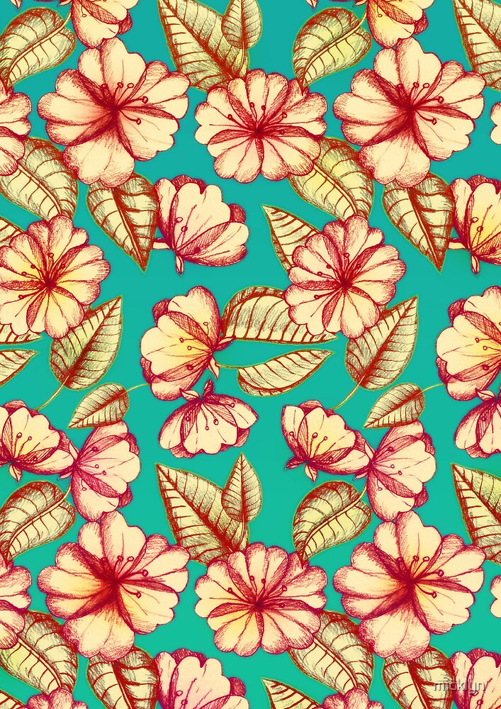 Rust & Teal Floral Pattern by micklyn