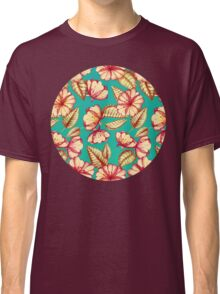 Rust & Teal Floral Pattern Classic T-Shirt