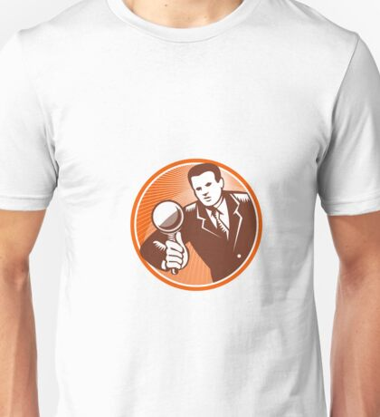 Businessman Holding Looking Magnifying Glass Woodcut Unisex T-Shirt