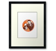 Businessman Holding Looking Magnifying Glass Woodcut Framed Print
