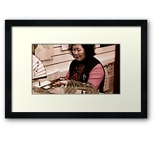 Street Artist making caligraphy tips in Taiwan Framed Print