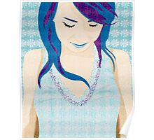 Asian Girl With Blue Hair Poster