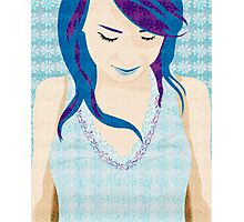 Asian Girl With Blue Hair Photographic Print