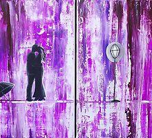 Purple Rain Romance Original Painting by Amber Elizabeth Lamoreaux