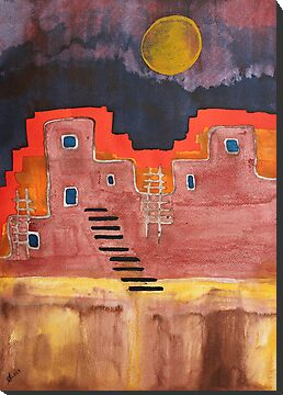 Pueblito original painting by CrowRisingMedia