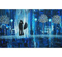 Sapphire Rain Romance Original Painting Photographic Print