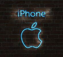iPhone Neon Apple by Qwnbee