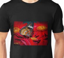 Singapore Butterfly on Red Flowers Unisex T-Shirt