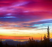 City Lights Sunrise View From Rollins Pass by Bo Insogna