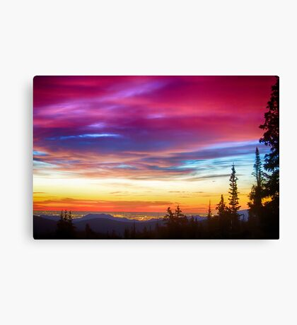 City Lights Sunrise View From Rollins Pass Canvas Print