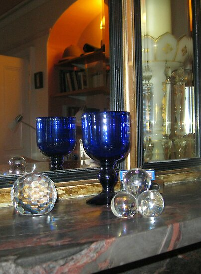 Blue Glass reflected in Mirror by MidnightMelody