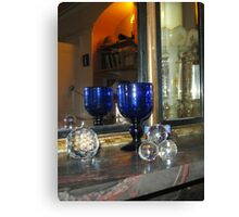 Blue Glass reflected in Mirror Canvas Print
