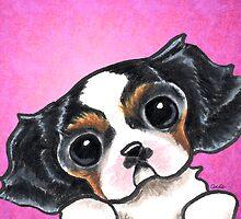 CKCS Tricolor Puppy Magenta by offleashart