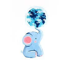Good Luck Elephant - Rondy holding planet Earth Photographic Print