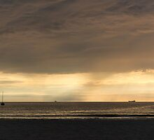 Storm clearing the beach by Alexander Chesham