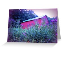 Red Barn and Iron Weed at Dusk Greeting Card