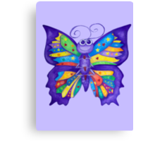 Yoga Butterfly in Namaste (purple background) Canvas Print