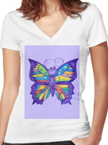 Yoga Butterfly in Namaste (purple background) Women's Fitted V-Neck T-Shirt