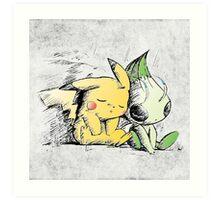 Pokemon 4ever: Pikachu & Celebi Art Print