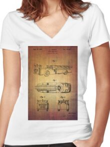 Grybos Vintage Fire Truck Patent From 1940 Women's Fitted V-Neck T-Shirt
