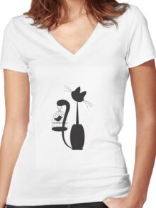Cat and Bird Women's Fitted V-Neck T-Shirt