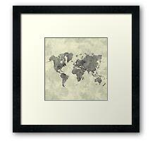 World Map Black Vintage Framed Print