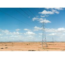 A power pole on the road to Essaouira, Morocco Photographic Print