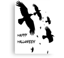 Happy Halloween Murder of Crows Canvas Print