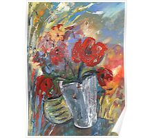 Red Fowers in A White Vase Poster