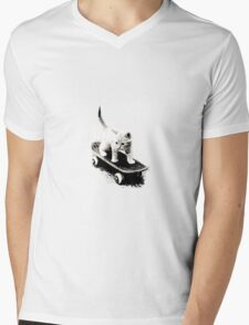 Skater Cat Mens V-Neck T-Shirt