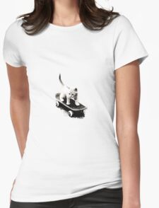 Skater Cat Womens Fitted T-Shirt