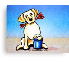 Yellow Lab Puppy Beachside Canvas Print