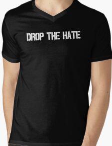 Drop the Hate (White) Mens V-Neck T-Shirt