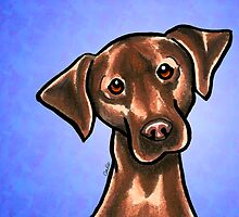 Chocolate Lab Listen Up Blue by offleashart