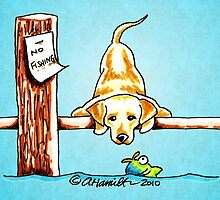Yellow Lab Dock Dog by offleashart