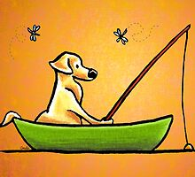 Yellow Lab Gone Fishing Orange by offleashart