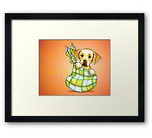 Yellow Lab New Puppy Orange Framed Print