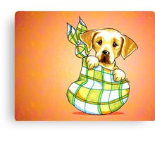 Yellow Lab New Puppy Orange Canvas Print