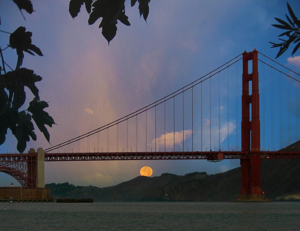 Moon Set Beyond The Golden Gate by David Denny