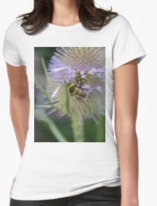 Bumble Bee sitting on a Teasel (Dipsacus) Womens Fitted T-Shirt